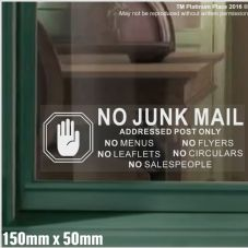 1 x No Junk Mail-HAND-WHITE on CLEAR-Window Warning House Sticker-Vinyl Door Letters Notice Sign